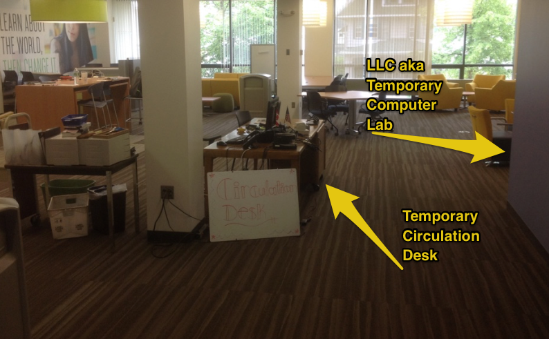 temporary library service desk